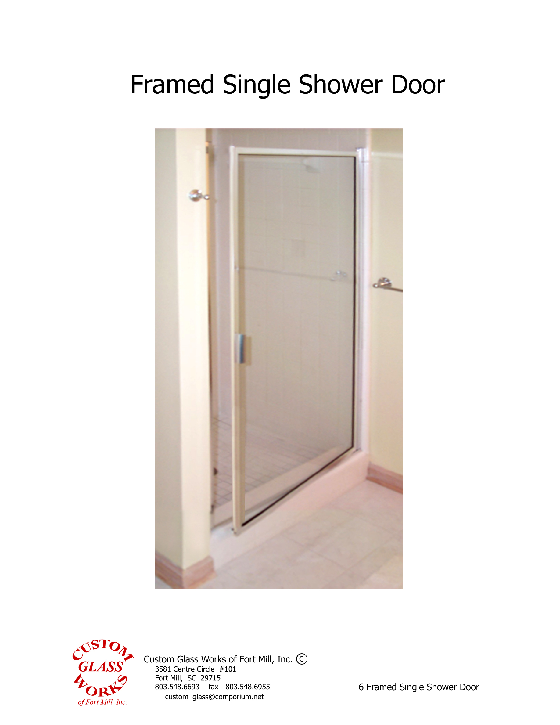 6 Framed Single Shower Door
